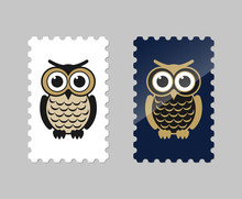 Vector Postage Stamps With Owl Icon
