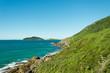 Vista do alto de um rochedo para o mar e uma ilha deserta florestada ao horizonte.
