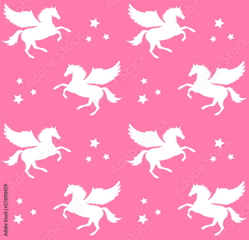 Fotografia Vector seamless pattern of white pegasus silhouette with stars isolated on paste