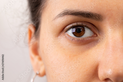 A closeup view on the eye of a beautiful young woman Canvas Print