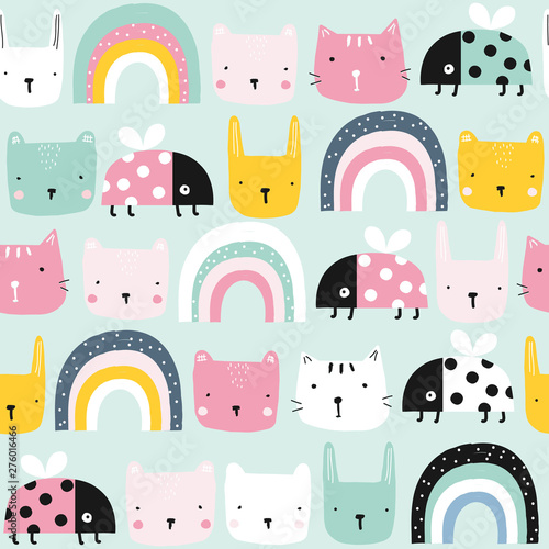 obraz lub plakat Childish seamless pattern with animals and rainbow. Kids pastel textile print. Vector hand drawn illustration.