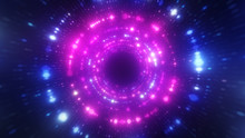 Bright Abstract Wavy Motion Background. Neon Ultraviolet Lamps. Glowing Points Of The Spiral Tunnel. Bright Bright Points. Laser Light. Modern Pink And Blue Color Spectrum. 3d Illustration