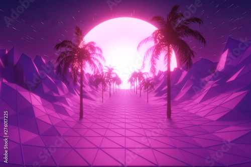 Foto auf AluDibond Violett Flying in retro futuristic hyperspace background 80s style 3d illustration