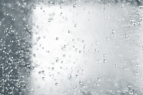 Ice cube close up with bubbles inside, ice texture 3d illustration Fototapet