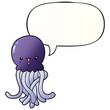 cartoon jellyfish and speech bubble in smooth gradient style