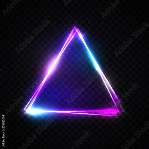 Fotografie, Tablou Neon abstract triangle on transparent background