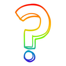 Rainbow Gradient Line Drawing Cartoon Question Mark