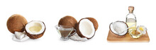 Set With Coconut Oil And Nuts On White Background