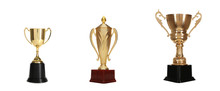 Set Of Different Shiny Gold Trophy Cups On White Background