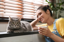 Young Woman With Cute Cat At H...