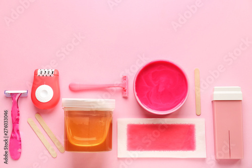 Photo  Set for hair removal on color background