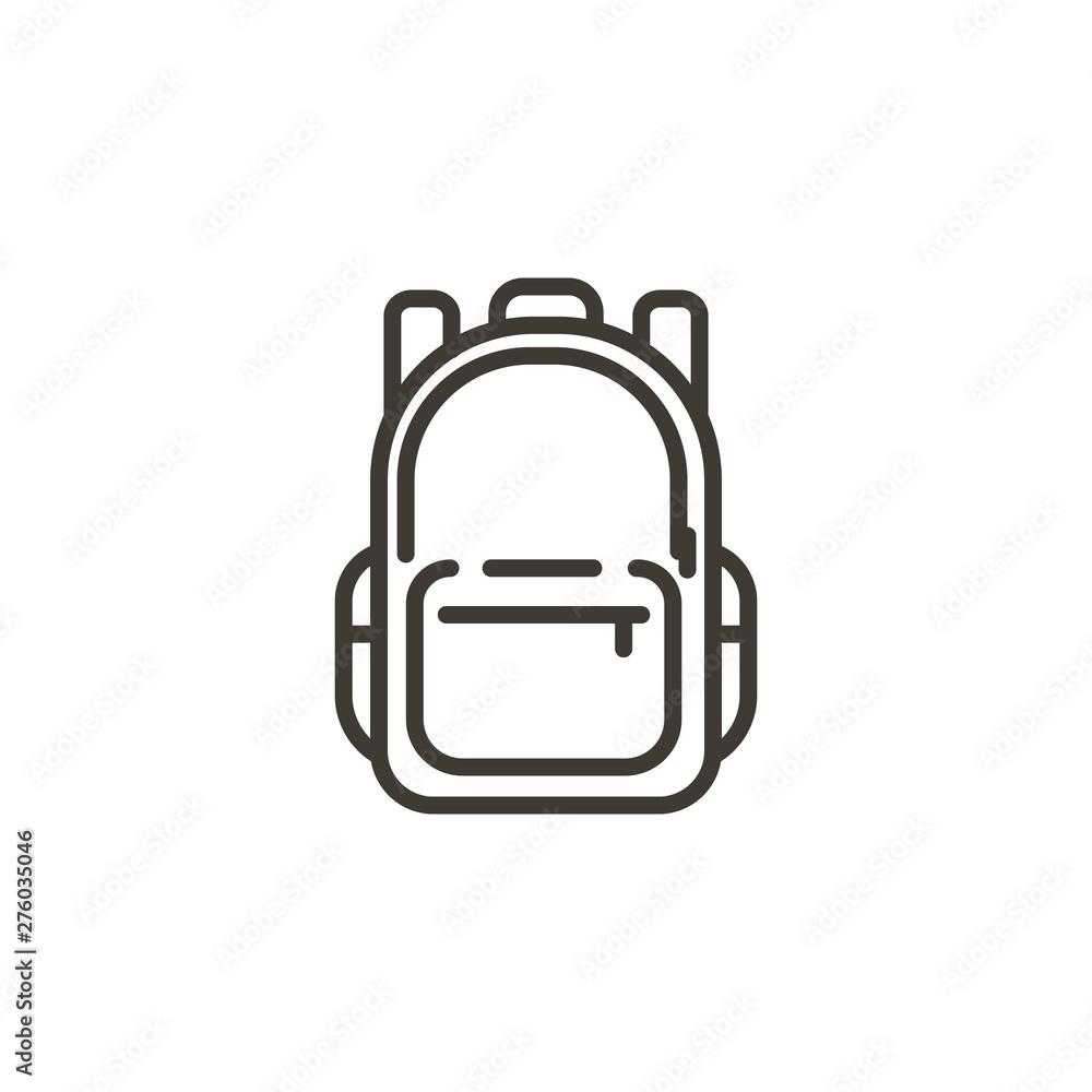 Fototapety, obrazy: Schoolbag icon. Trendy modern thin line illustration of a school backpack bag.