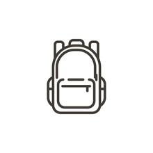 Schoolbag Icon. Trendy Modern Thin Line Illustration Of A School Backpack Bag.