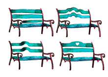Hand Drawn Park Bench Set. Watercolor Painting Isolated On White
