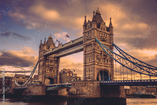 Garden Poster London LONDON, ENGLAND, DECEMBER 10th, 2018: Tower Bridge in London, the UK. Sunrise with beautiful clouds. English symbols