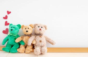 Couple cute teddy bear with...