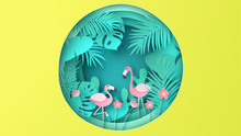Flamingo Couple Live In Tropical Forest And Playing In Natural Pond. Paper Cut And Craft Style. Vector,illustration.