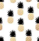 Seamless summer pattern with gold pineapples texture. - 276041669