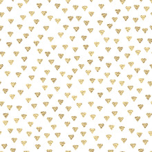 Gold Diamonds Seamless Pattern With Golden Metallic Texture.