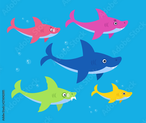 The family shark bright children illustration. Art for kids books. Mommy, daddy, grandma and granddaddy sharks family.  Wall mural