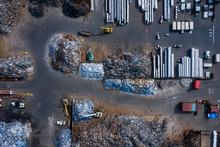 Aerial View Of Metal Recycle Yard