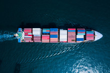 Aerial View Of Container Cargo Ship In Import Export Business Logistic