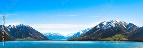 Foto auf AluDibond Blau Mountain Landscape Lake banner