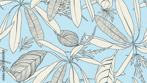Foliage seamless pattern, light brown leaves on blue background, line art ink drawing vintage style
