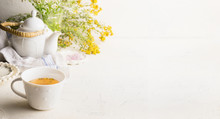 Herbal Tea Background With Cup...