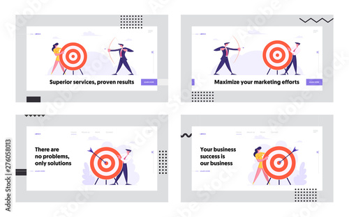 Photo  Business Goal Achievement Website Landing Page Set, Business People Shoot to Aim, Challenge, Task Solution, Business Strategy, Opportunity, Target Web Page