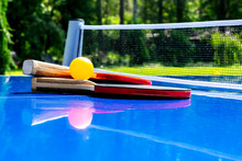 Blue Table Tennis Or Ping Pong...