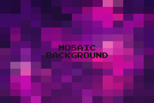 Abstract Dark Purple Geometric Background, Creative Design Templates. Pixel Art Grid Mosaic, 8 Bit Vector Background.