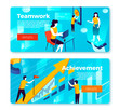 Vector set of bright banner templates with teamwork and achievement working process. With place for your text.