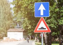 Bumpy Road Traffic Sign.  Sunn...