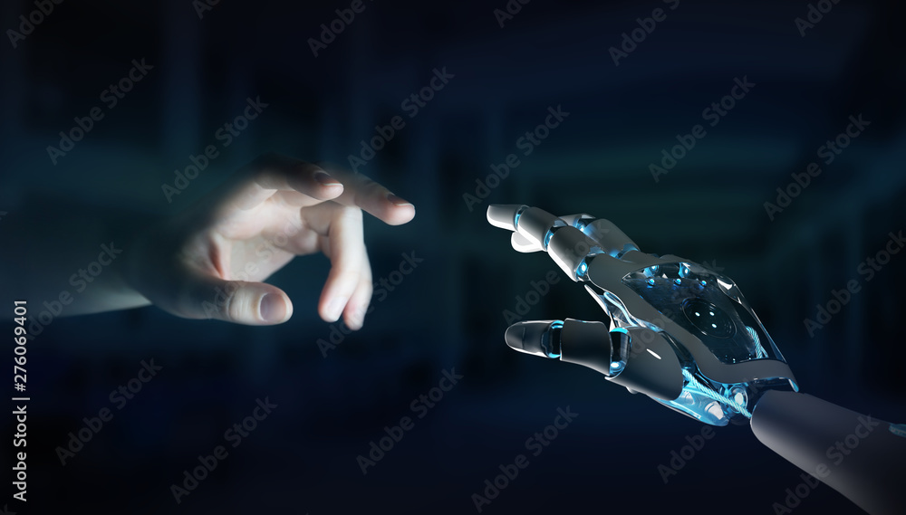 Fototapety, obrazy: Robot hand making contact with human hand on dark background 3D rendering
