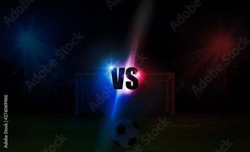 Bright stadium arena lights VS red blue vector design. Canvas Print