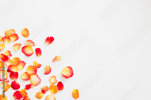 Romantic theme background. Flat lay of red and orange rose petals scattered over white surface. Copy space.