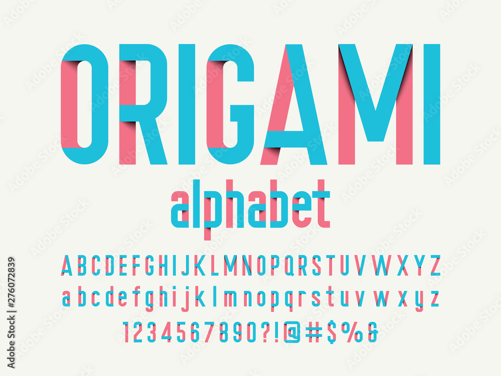 Fototapeta Paper folding origami style alphabet design