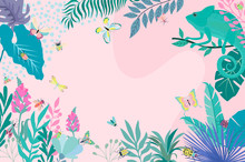 Abstract Background With Chameleon, Insects And Plants. Background For Mobile App Minimalistic Style. Editable Vector Illustration