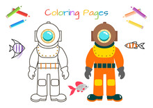 Funny Diver. Educational Game For Children.  Coloring Book. Cartoon Vector Illustration