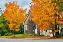 Driveway At Suburban Neighborhood. Autumn Day In Maine, USA.