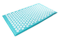 Acupuncture Orthopedic Massage Mat With Needles And Spikes For Feet And Body Isolated On White Background. Alternative Medicine, Health Care, Recreation And Muscle Relaxation Concept.
