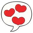 cartoon love hearts and speech bubble