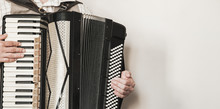 Accordionist Plays Retro Accordion