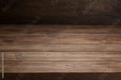 empty wooden table in front, plank board background texture surface Canvas Print