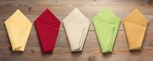 Cloth Napkin On At Rustic Wood...