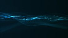 Abstract Digital Blue Color Wave With Flowing Small Particles Dance Motion On Wave And Light Abstract Background.
