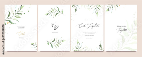 Fotografie, Tablou  Set of card template with herbs, leaves