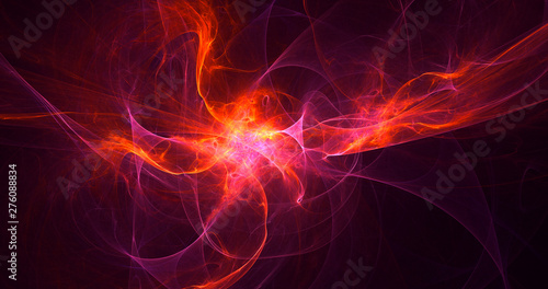 In de dag Fractal waves 3D rendering abstract red fractal light background