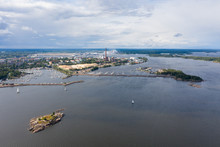 The City Of Kotka. Finland. Bird's-eye View. In The Frame Of The City, Water And Yachts